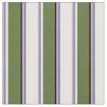 [ Thumbnail: Plum, Slate Gray, White, Dark Olive Green & Black Fabric ]