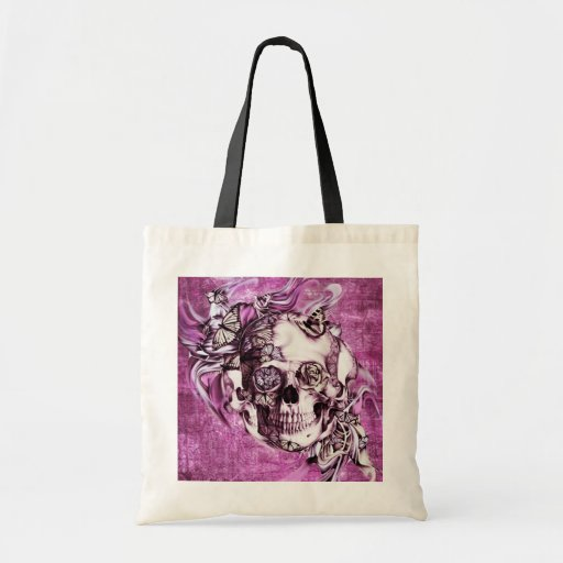 Plum smoke skull with butterflies. canvas bag