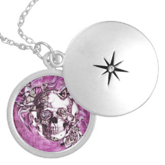 Plum smoke skull with butterflies. round locket necklace