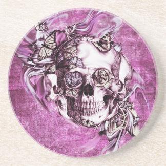Plum smoke skull with butterflies. sandstone coaster