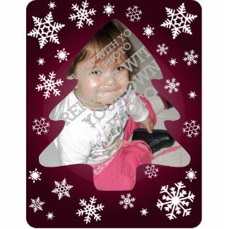 Plum Snowflakes Christmas Tree Photo Ornament