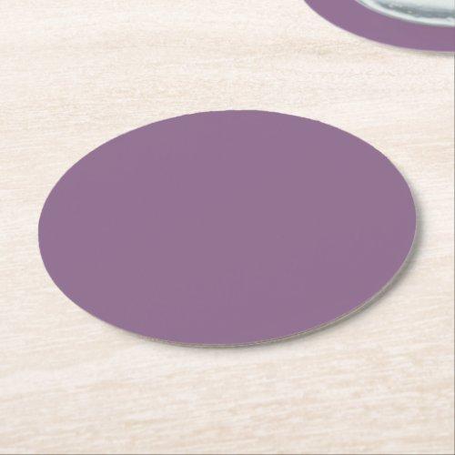 Plum Solid Color Round Paper Coaster