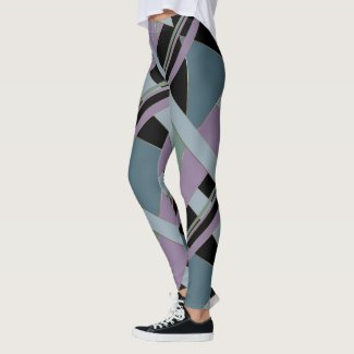 Plum Steel Moss Geometric WhimsicalArtwork™ Leggings