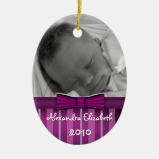 Plum Stripes Baby's First Christmas Tree Ornament