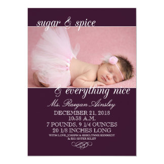 Plum Sugar & Spice Girl Photo Birth Announcements