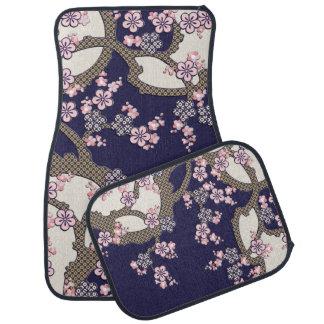 Plum tree flowers traditional japanese textile car floor mat