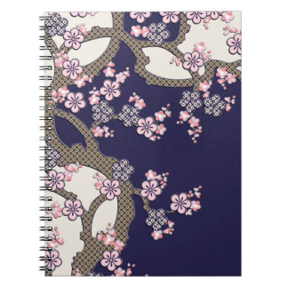 Plum tree flowers traditional japanese textile spiral note book