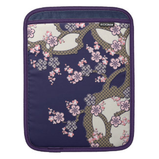 Plum tree flowers traditional japanese textile sleeve for iPads