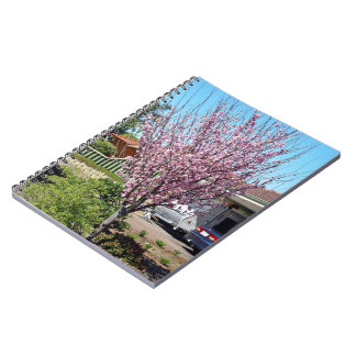 Plum tree in blossom with lavendar flowers spiral notebook