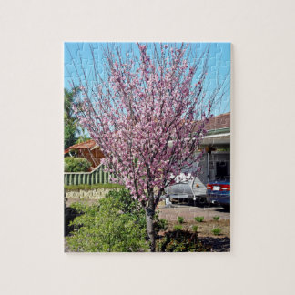 Plum tree in blossom with lavendar flowers jigsaw puzzle