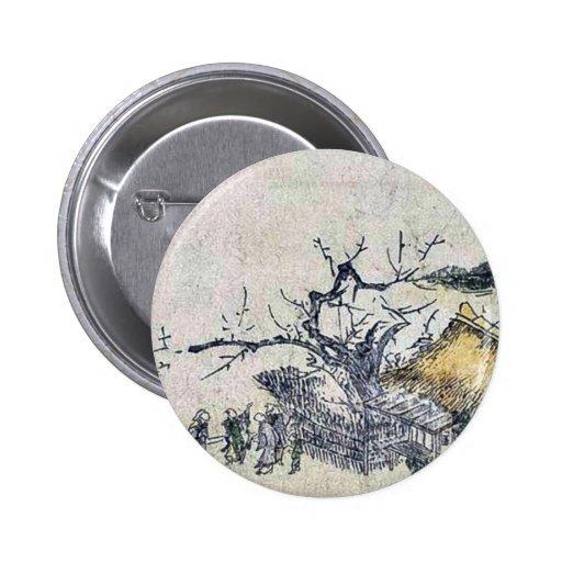 Plum tree of a farmhouse by Utagawa,Toyohiro 2 Inch Round Button