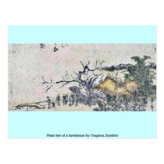 Plum tree of a farmhouse by Utagawa,Toyohiro Postcard