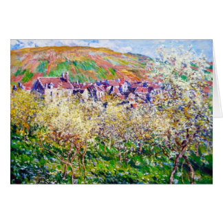 Plum Trees in Blossom at Vetheuil Claude Monet Card