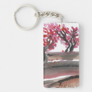 Plum Trees in Blossom Watercolor Keychain