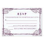Plum Tropical Leaf Wedding RSVP Card