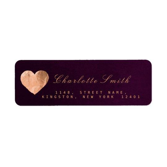 plum velvet heart pink gold return address labels zazzle com