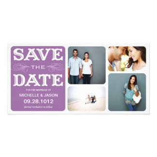 PLUM VINTAGE COLLAGE | SAVE THE DATE ANNOUNCEMENT PERSONALIZED PHOTO CARD