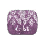 Plum Vintage Damask Pattern and Name Jelly Belly Candy Tin