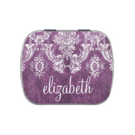 Plum Vintage Damask Pattern and Name Jelly Belly Candy Tin at Zazzle