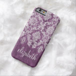 Plum Vintage Damask Pattern and Name Barely There iPhone 6 Case