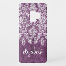 Plum Vintage Damask Pattern and Name Case-Mate Samsung Galaxy S9 Case