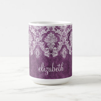 Plum Vintage Damask Pattern and Name Classic White Coffee Mug