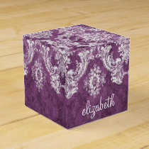 Plum Vintage Damask Pattern and Name Favor Box