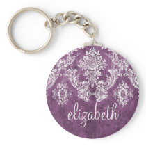 Plum Vintage Damask Pattern and Name Keychain
