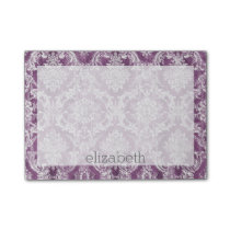 Plum Vintage Damask Pattern and Name Post-it Notes