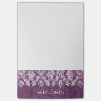 Plum Vintage Damask Pattern and Name Post-it® Notes