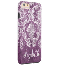 Plum Vintage Damask Pattern and Name Tough iPhone 6 Plus Case