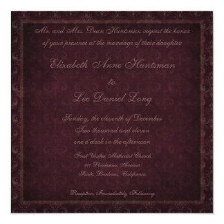 Plum Vintage Damask Wedding Invitation