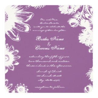 Plum Vintage Flower Weddings 5.25x5.25 Square Paper Invitation Card