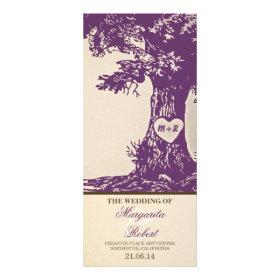 plum vintage love tree wedding programs rack card