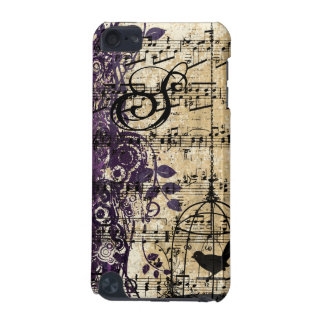 Plum Vintage Sheet Music Cute Birdcage iTouch Case