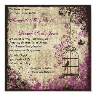 Plum Vintage Wedding Birdcage Invitation