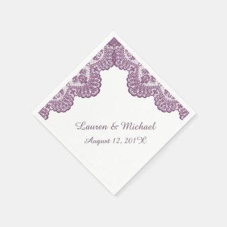 Plum Violet Faux Lace on White Wedding Napkin