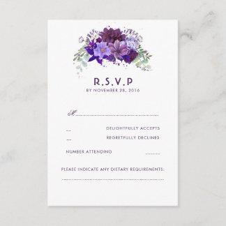 Plum Violet Flowers Elegant Wedding RSVP