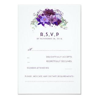 Plum Violet Flowers Elegant Wedding RSVP Card