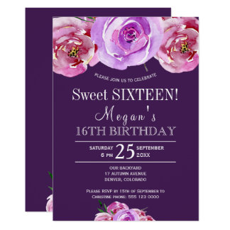 Plum violet pink peonies chic floral sweet sixteen card