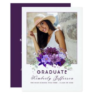 Plum Violet Purple Floral Photo Graduation Card