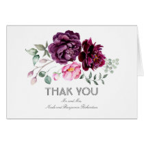 Plum Watercolor Flowers Wedding Thank You
