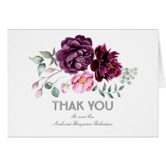 Plum Watercolor Flowers Wedding Thank You Card