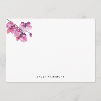 Plum Watercolor Orchid Personalized Stationery Note Card