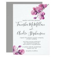 Plum Watercolor Orchids Wedding Invitation