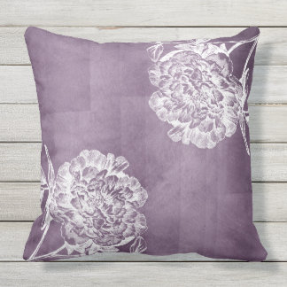 Plum Watercolor Peonies Outdoor Pillow