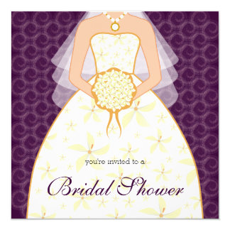 Plum Wedding Dress Custom Bridal Shower Invitation