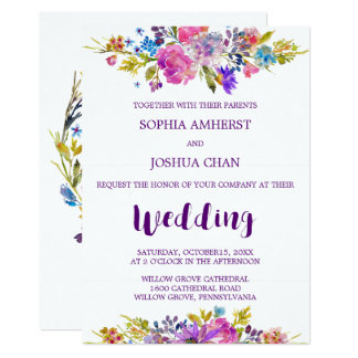 Plum Wedding Invitation Card With Monogram Backing