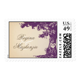 plum wedding tree vintage postage stamps