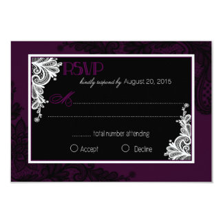 Plum White and Black Lace Elegant RSVP Card
